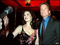 Catherine Zeta Jones and Michael Douglas before their wedding in New York in 2000
