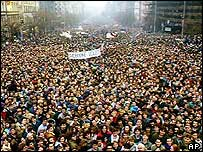 Demonstration during Velvet Revolution
