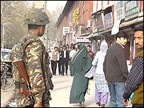 Security forces in Srinagar