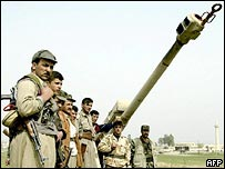 KDP fighters with captured Iraqi gun