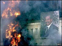 The Iraqi Ministry of Transport on fire on 9 April