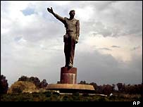 One of the numerous statues of Saddam in Baghdad