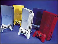 A collection of colourful Sony PlayStation 2s, Sony