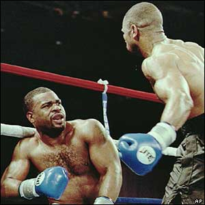 Jones was controversially disqualified for two illegal punches in a match against  Montell Griffin