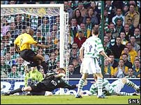 Valgaeren diverts the ball into his own goal