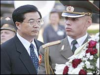Hu Jintao at the wreath-laying ceremony