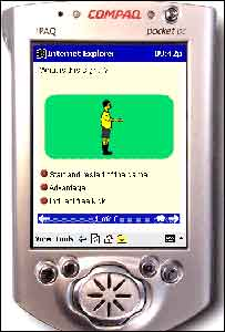 Handheld computer showing one of the learning modules