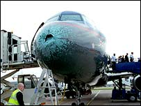 Hail-damaged BMI jet at Manchester Airport