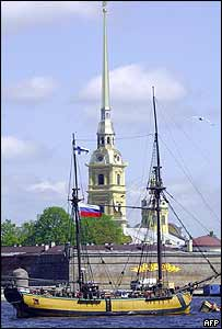 A replica of old Russian ship Russian at an anchor in front of Peter and Paul fortress