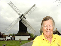 The windmill with its owner Sheila Thomas