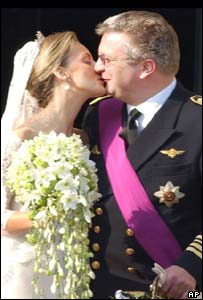 Princess Claire and Prince Laurent kiss
