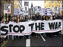 Protesters in central London show their opposition to the war with Iraq