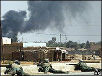 US marines fighting in the Iraqi town of Kut