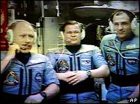 ISS's three-man crew