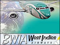 BWIA plane and logo