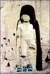One of the giant Buddha statues before being destroyed