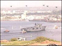 HMS Ocean arriving in Plymouth Sound
