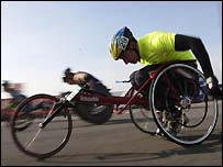 Action from the London Marathon wheelchair race