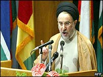 Iranian President Mohammad Khatami speaks at the opening of the OIC meeting in Tehran