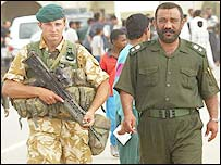 Marine Lee Howarth and Lieutenant Colonel Moyer Abdul Jabar
