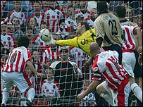 Arsenal keeper David Seaman pulls off the fabulous save
