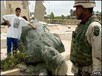 Toppled statue of Saddam