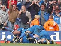 Cardiff City celebrate at the Millennium Stadium
