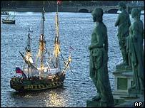 Sailing ship Shtandart, a replica of Peter the Great's ship