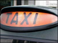 Taxi sign, BBC