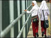 Acehnese students walk home after school in Lhok Nga sub-district, Aceh province
