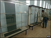 Empty cabinets in Baghdad's national museum