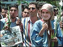 Iranian pro-reform students in 2000