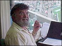 Bill Frindall in the commentary box