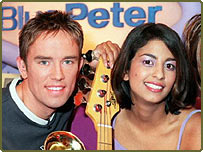 Blue Peter presenters Simon Thomas and Konnie Huq