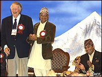 Sir Edmund Hillary (centre) at celebrations in Kathmandu