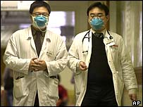 Doctors at the Prince of Wales hospital in Hong Kong