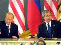President Putin (left) and President Bush during the talks in Moscow in 2002.
