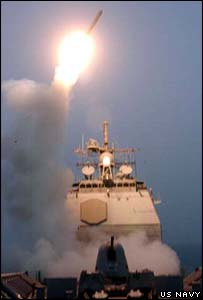 USS Bunker Hill launches first cruise missile of the war