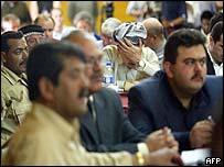 Delegates at a meeting on Iraqi leadership sponsored by the US in mid-April