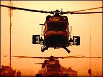 British Lynx 2 helicopters in Basra