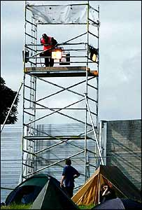 Security tower at Glastonbury 2002
