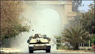 US tank patrol in Baghdad