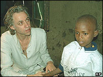 Bob Geldof with young Aids victim