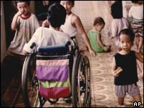 Vietnamese children affected by Agent Orange. File photo