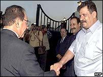 Saddam Hussein's Foreign Minister Mohammad Said al-Sahhaf and Abu Abbas