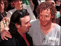 Vincent, left, and Michael Hickey on the day their convictions were overturned
