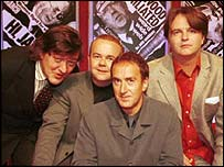 From left: Stephen Fry, Ian Hislop, Angus Deayton and Paul Merton on Have I Got News For You