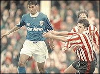 Pompey's Jimmy Carter and Saints Jason Dodd in 1996 FA Cup action