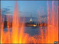 A view of the Peter and Paul fortress late Thursday