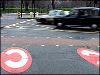 London traffic around the congestion charge zone